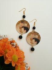 Maternità Gustav Klimt orecchini di carta pendenti con perla nera