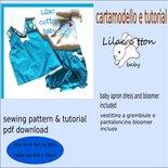 cartamodello vestitino a grembiule con istruzioni di confezione tg 6m a 36mesi