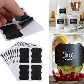 """LOTTO 36 stickers adesivi in carta """"Effetto lavagna"""" (5 cm x 3.5 cm)"""