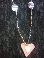 """Collana con cuore rosa in feltro e motivi in ceramica """"Set Love Festa della Mamma"""""""