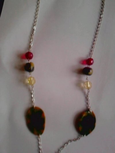 collana con  catena perle e fimo