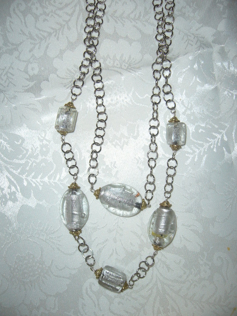 collana con catena e perle binco/ trasparente