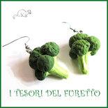 """Orecchini """" Verdure dell'orto  Broccolo """" vegetariani fimo vegano kawaii miniatura cibo idea regalo primavera estate"""