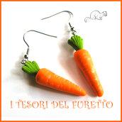 "Orecchini "" Verdure dell'orto  carota  "" vegetariani fimo vegano kawaii miniatura cibo idea regalo primavera estate"