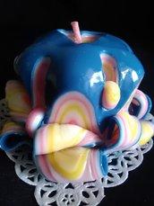 Candela Artigianale Artistiche Blu, Gialla e Rosa con Cuore