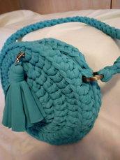 borsa fettuccia azzurro mare