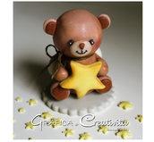 Cake topper per nascita/battesimo: orsetto con stellina