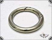 Moschettone anello, 41 mm. colore argento - 2 pezzi