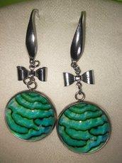 Orecchini Verde Mare, Pendenti, con fiocco,  tutto Acciao inox