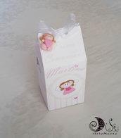Bomboniera portaconfetti comunione milk box angioletto con ciondolo angioletto per bimba