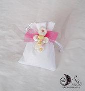 30 bomboniere sacchetto portaconfetti juta bianco con croce calamita per bimba
