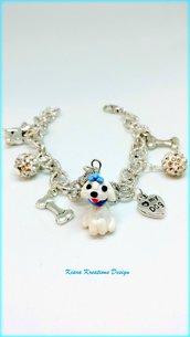 Bracciale cane Maltese in fimo, miniatura maltese, regalo maltese, regalo cane, amanti dei cani, gioielli animali, gioielli cani maltesi