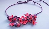Collana kanzashi con fiori 1. 2