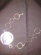 Bracciale Cerchi Ottone e Disco concavocolor argento antico