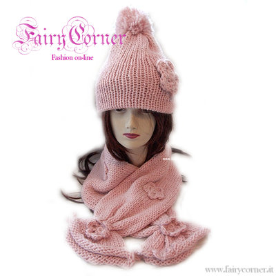 Completo berretto + sciarpa alpaca rosa fiore