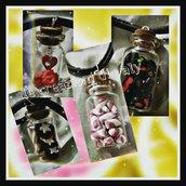Collane Bottigliette di vetro con dolcini fimo