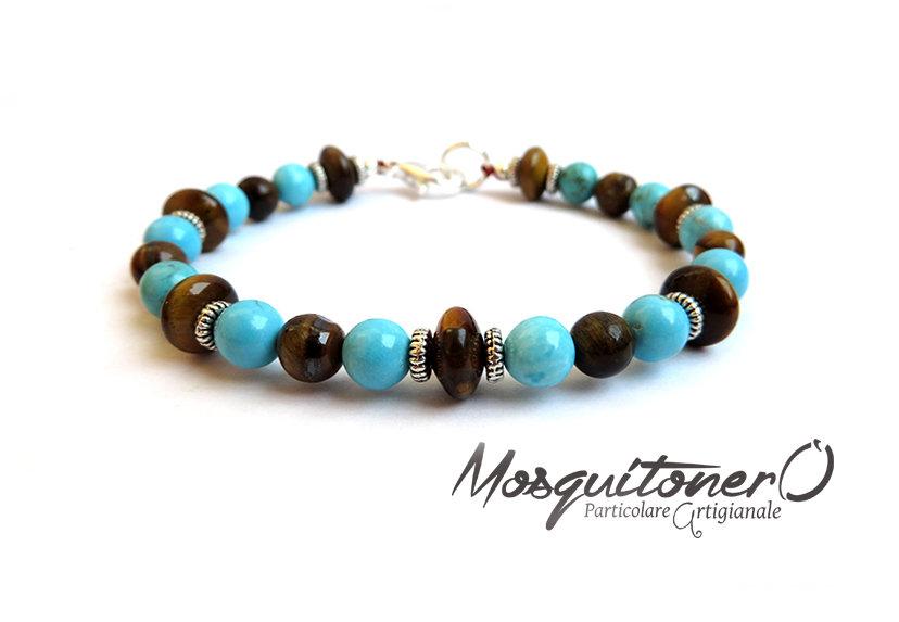 Bracciale da uomo in pietre Occhio di tigre e Turchesite, perle semi preziose, bracciale perline,per lui, regalo uomo,bracciale elegante