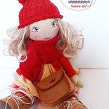 Bambola di stoffa fatta a mano, bambola da collezione, bambola per bambina Le Tusì