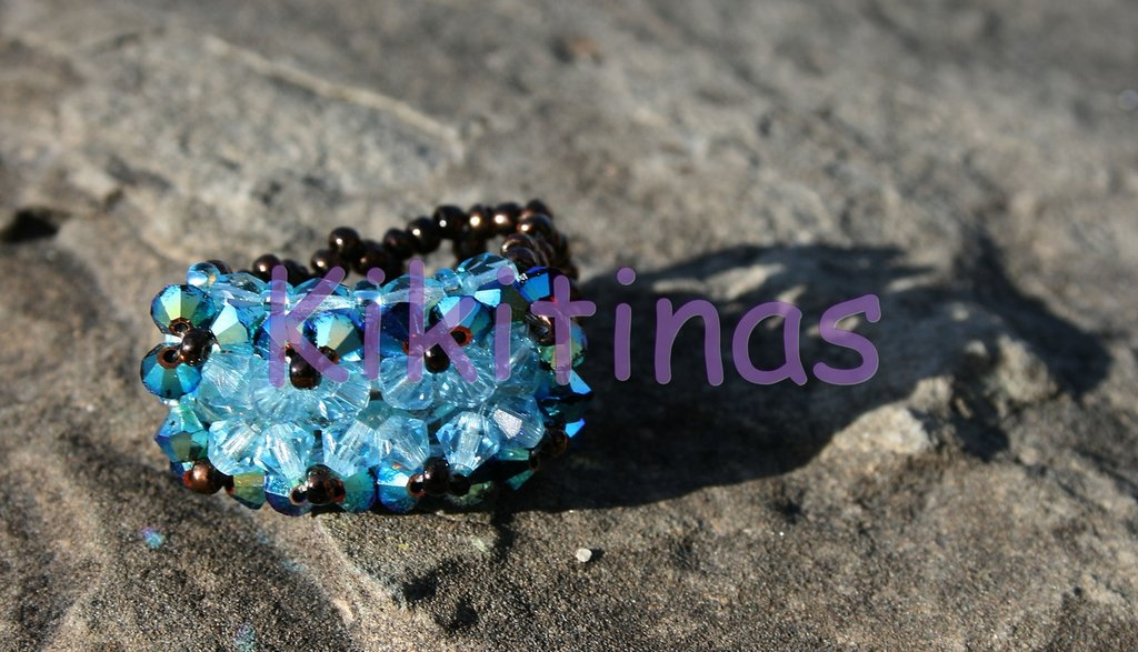 anillo Swarovski basico azul