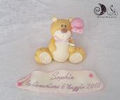 cake topper orsetto con palloncino e pergamena personalizzata