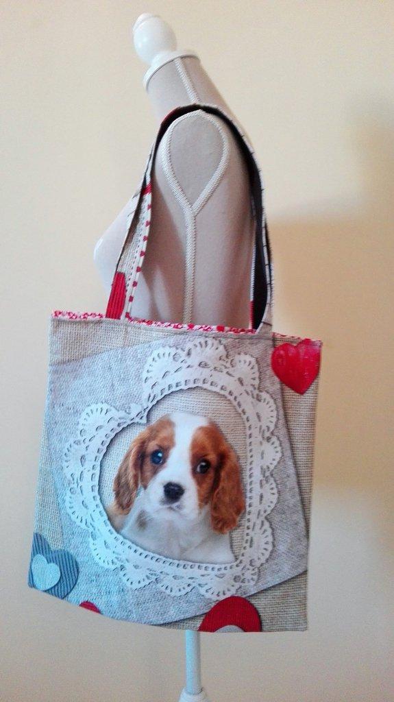 Borsa shopper in cotone con cagnolino e cuore, fatta a mano