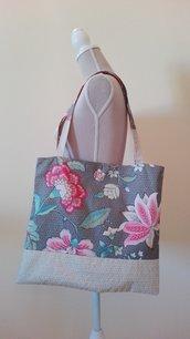Borsa shopper in cotone con fiori - fatta a mano