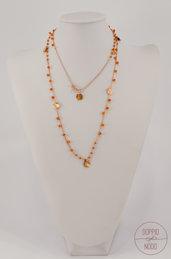 Collana lunga doppio giro in argento 925 placcato oro rosa e pietra dura corniola arancione