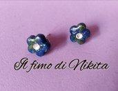 """Orecchini """"fiorellini blu"""" in fimo"""