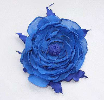 Fiore di raso per capelli 21 colore blu