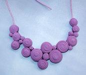 Collana di tessuto colore rosa antica