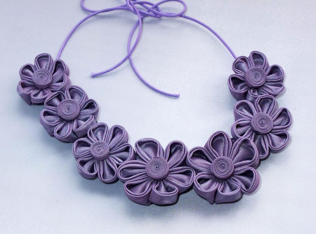 Collana kanzashi con fiori 1.6 colore lilla