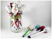 penna tulipano, penna gadget, bomboniera per bambini a scuola, tulipano di stoffa, penna decorativa