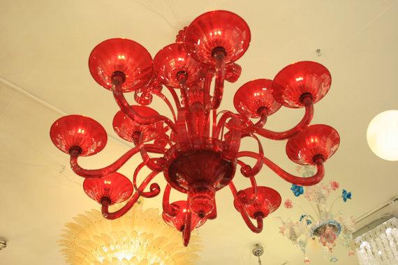 Plafoniera Cristallo Swarovski : Lampadario plafoniera veneziana in vetro soffiato di murano e