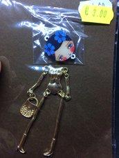 Corpo Bambolina color Oro con Fiori Grandi Blu DIY