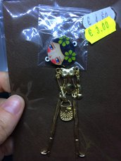 Corpo Bambolina color Oro con Fiori Grandi Verdi DIY
