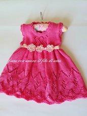 Abitino / vestitino bambina in puro cotone fucsia con fiori rosa