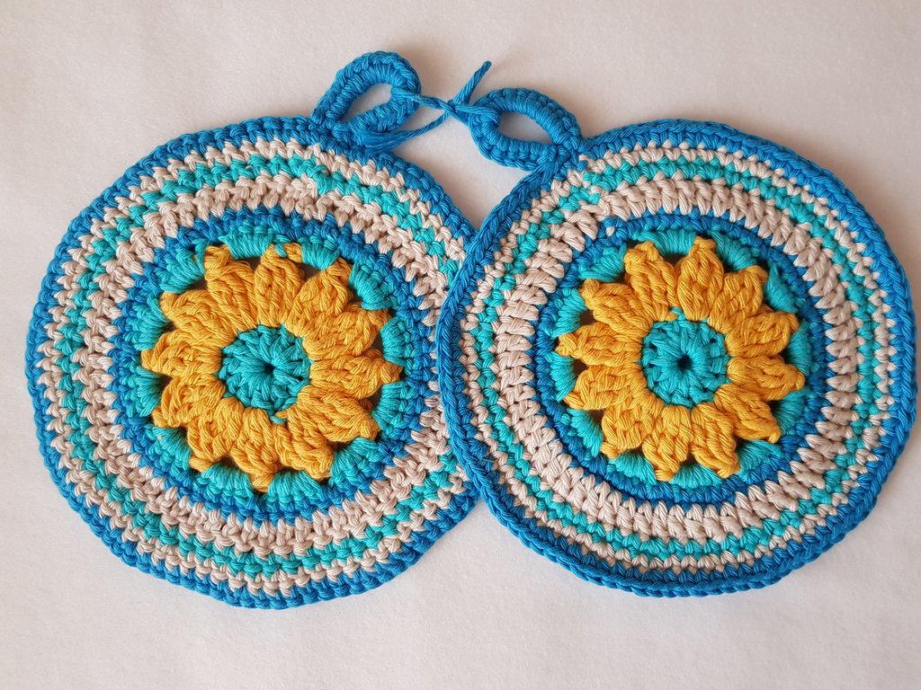 Presina rotonda in cotone all'uncinetto (coppia) - colore azzurro giallo e beige
