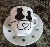 Tazzine da caffè dipinte a mano con gatti
