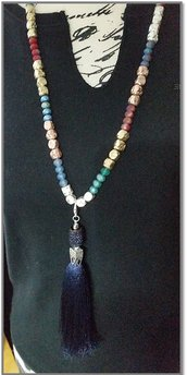 Long necklace multicolor & tassel dark blue