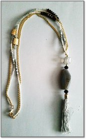 Long necklace perle e oro & tassel grey