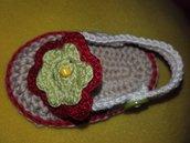 Sandali infradito bimba scarpina  uncinetto cotone neonata corredo homemade