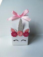 Scatolina porta confetti dolci caramelle unicorno viso occhi brillantini glitter nome compleanno battesimo nascita