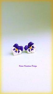 Orecchini viole in fimo, orecchini violette, orecchini estivi, bijoux di primavera, ultra violet, orecchini bambina, gioielli matrimonio