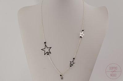 Collana lunga catenina in argento 925 e ciondoli stelle