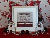 Schema punto croce San Valentino pattern model cross stitch ricamo embrodery frame cornice regalo per appassionati di appassionate