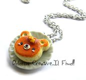 Collana Con Pancake alto a forma di orso - dolce al burro - miniature - handmade idea regalo