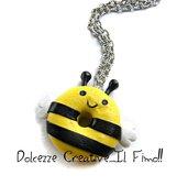 Collana donut - ciambella glassata a forma di ape - miniature - idea regalo handmade