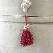 Nappina per mobili, nappa con ceramica di Deruta e filo di lino di Busatti