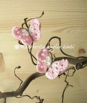 Coppia elastici fermacapelli farfalla bianca/rosa - accessori capelli - fatto a uncinetto - cotone