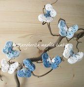 Elastico fermacapelli farfalla azzurro/blu/bianco - accessori capelli - fatto a uncinetto - cotone
